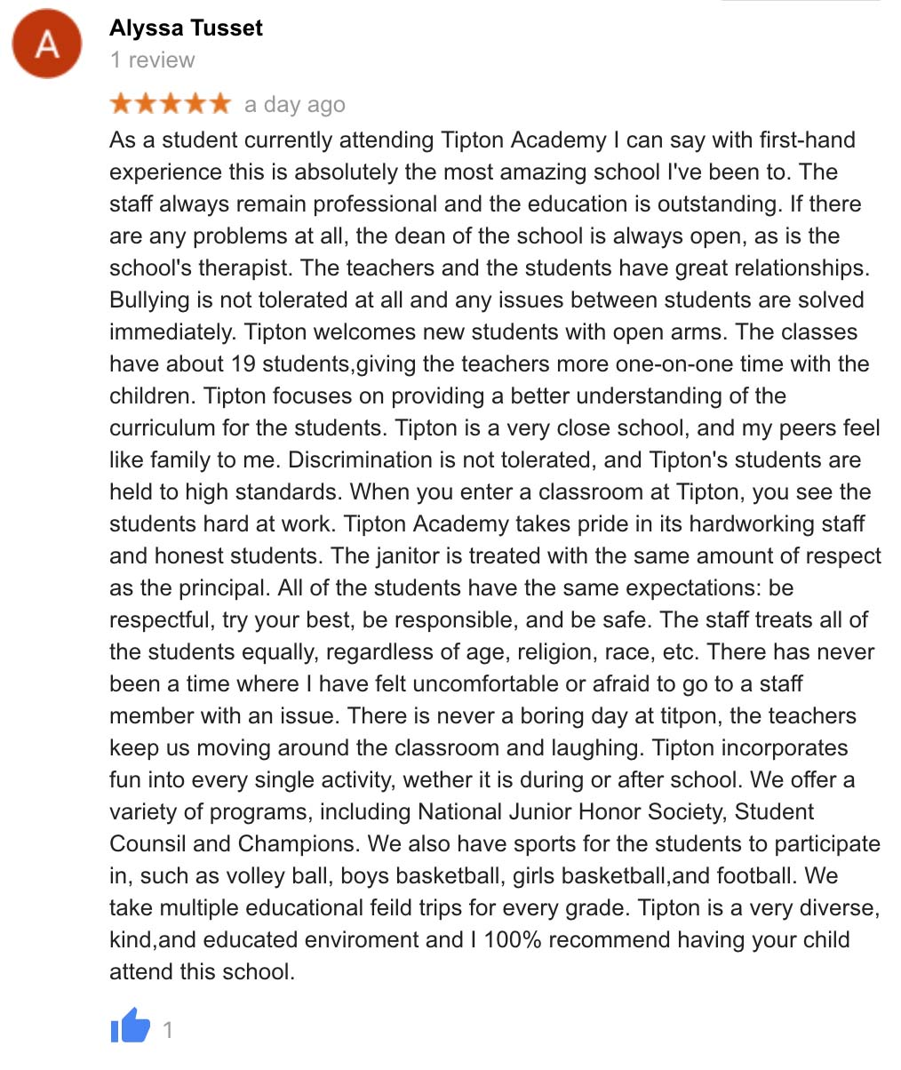 Tipton Academy Garden City | Student Review